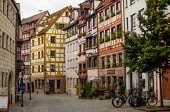 纽伦堡,德国半木料半灰泥的房子  免版税库存图片