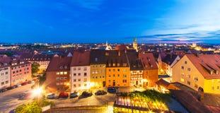 纽伦堡,德国晚上全景  免版税库存照片