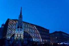 纽伦堡,德国-中断Blaue Nacht 2012年 库存照片