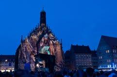 纽伦堡,德国-中断Blaue Nacht 2012年 库存图片