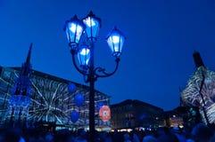 纽伦堡,德国-中断Blaue Nacht 2012年 图库摄影