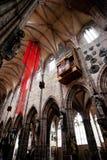 纽伦堡,德国- 6月20 :圣洛伦茨(圣劳伦斯)教会内部  免版税库存照片
