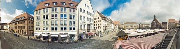 纽伦堡Hauptmarkt全景 免版税库存照片