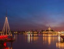 纽波特海湾圣诞灯,加利福尼亚 库存照片