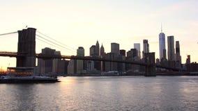 纽约、布鲁克林大桥和曼哈顿地平线 股票录像
