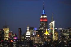 纽约中间地区在晚上 免版税图库摄影