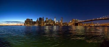 纽约全景在日落以后的 免版税库存照片