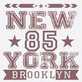 纽约减速火箭的葡萄酒印刷术海报, T恤杉打印设计,传染媒介徽章补花标签 库存照片