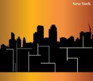 纽约剪影-传染媒介-可升级的-生动的颜色-大厦-海报 库存例证