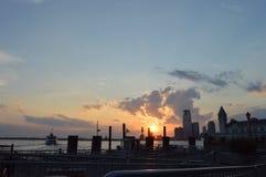 纽约南大街海口日落 免版税库存照片