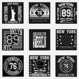 纽约印刷术时尚集合, T恤杉图表 库存照片