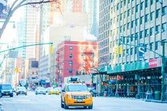 纽约和美国, 2018年1月01th的纽约- 1月01日美丽的街道日,在曼哈顿,纽约 图库摄影