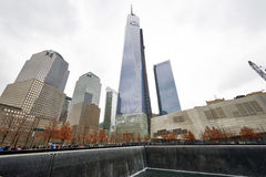 纽约在世界贸易中心爆心投影的9/11纪念品 免版税库存照片