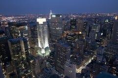 纽约在从洛克菲勒的顶端Night之前 免版税库存照片