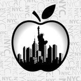 纽约在大苹果计算机中 库存照片
