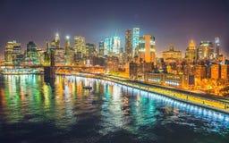 纽约在晚上,曼哈顿 库存照片