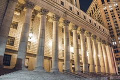 纽约在晚上,曼哈顿 免版税库存图片
