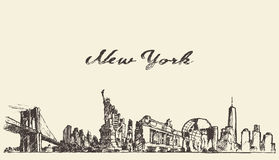 纽约地平线传染媒介被刻记的被画的剪影 免版税图库摄影