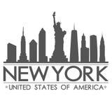 纽约地平线剪影设计城市传染媒介艺术 库存图片
