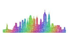 纽约地平线剪影-多色线艺术 库存例证
