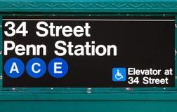 纽约地铁标志Penn驻地第34条街道 库存图片