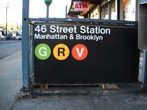 纽约地铁签到女王纽约 免版税库存图片