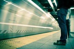 纽约地铁,长的风险,被处理的颜色 库存照片