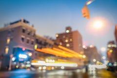 纽约摘要与defocused汽车的高峰时间 免版税库存图片