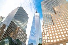 纽约摩天大楼在更低的曼哈顿 免版税库存图片