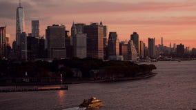 纽约日出曼哈顿地平线全景 影视素材