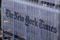 纽约时报学报大厦,街道视图曼哈顿,纽约,美国 免版税库存图片