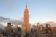 纽约曼哈顿与摩天大楼的中间地区视图 免版税图库摄影