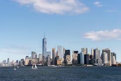 纽约曼哈顿地平线在哈得逊河的 免版税库存图片