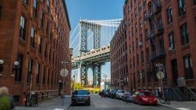 纽约曼哈顿桥梁视图从街道天Timelapse 股票视频