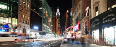 纽约曼哈顿第42街道全景 库存照片