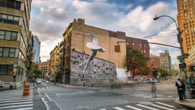 纽约曼哈顿街道画跳芭蕾舞者Timelapse 影视素材
