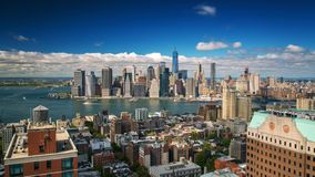 纽约曼哈顿视图从布鲁克林屋顶天Timelapse 股票视频