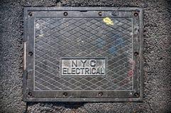 纽约电子街道轴箱盖 免版税库存图片
