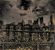 纽约看法在晚上 图库摄影
