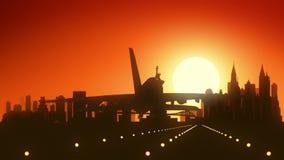 纽约美国美国地平线日出着陆 向量例证