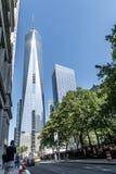 纽约美国25 05 2014年在建筑一面世界贸易中心的地平线图 库存照片