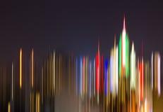 纽约街市地平线五颜六色的抽象夜光  免版税库存图片
