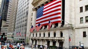 纽约证券交易所位于华尔街财政区更低的曼哈顿 免版税库存照片
