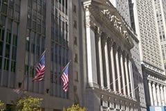 纽约证券交易所外视图在华尔街,纽约,纽约的 免版税图库摄影