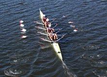 纽约运动俱乐部在主任Challenge在查尔斯赛船会头的Quad Men赛跑  库存照片