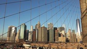 纽约,在布鲁克林大桥的清早焕发2019年 免版税库存照片