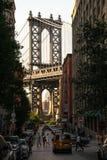 纽约,城市/美国- 2018年7月10日:曼哈顿从W的桥梁视图 免版税库存照片