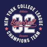 纽约,数字T恤杉的棒球印刷术 原始的运动服印刷品 运动服装印刷术 也corel凹道例证向量 皇族释放例证