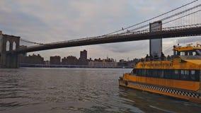 纽约,纽约,美国- 2018年12月30日:曼哈顿摩天大楼和布鲁克林大桥NYC黄色水出租汽车 股票录像