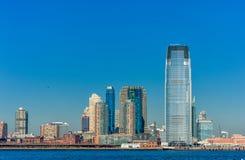 纽约,纽约- 2013年12月28日:与泽西的都市风景 免版税库存图片